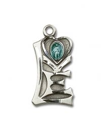 Sterling Silver Miraculous Pendant with Sterling Silver Lite Curb Chain