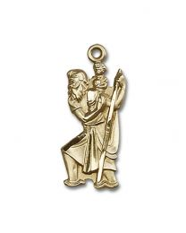 14kt Gold Filled St. Christopher Pendant with Gold Filled Lite Curb Chain