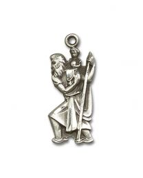 Sterling Silver St. Christopher Pendant with Sterling Silver Lite Curb Chain