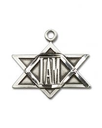 Sterling Silver I Am Star Pendant with Sterling Silver Lite Curb Chain