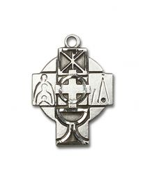 Sterling Silver Rcia Pendant with Sterling Silver Lite Curb Chain