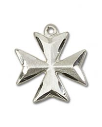 Sterling Silver Maltese Cross Pendant with 18 inch Sterling Silver Curb Chain