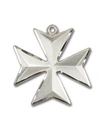 Sterling Silver Maltese Cross Pendant with Light Rhodium Heavy Curb Chain