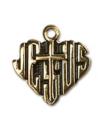 14kt Gold Filled Heart of Jesus / Cross Pendant with Gold Filled Lite Curb Chain