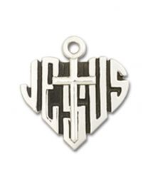 Sterling Silver Heart of Jesus / Cross Pendant with Sterling Silver Lite Curb Chain