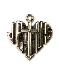 14kt Gold Filled Heart of Jesus / Cross Pendant with Gold Plate Heavy Curb Chain