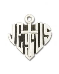 Sterling Silver Heart of Jesus / Cross Pendant with Light Rhodium Heavy Curb Chain