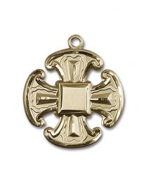 14kt Gold Filled Cross Pendant with Gold Plate Heavy Curb Chain