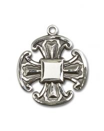 Sterling Silver Cross Pendant with Light Rhodium Heavy Curb Chain