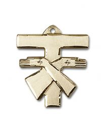 14kt Gold Filled Franciscan Cross Pendant with Gold Filled Lite Curb Chain