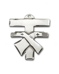 Sterling Silver Franciscan Cross Pendant with Sterling Silver Lite Curb Chain