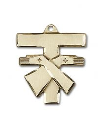 14kt Gold Filled Franciscan Cross Pendant with Gold Plate Heavy Curb Chain