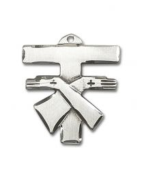 Sterling Silver Franciscan Cross Pendant with Light Rhodium Heavy Curb Chain