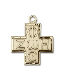 14kt Gold Filled Light & Life Cross Pendant with Gold Plate Heavy Curb Chain