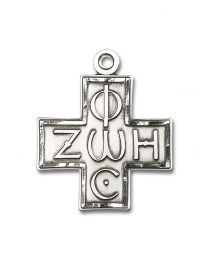 Sterling Silver Light & Life Cross Pendant with Light Rhodium Heavy Curb Chain