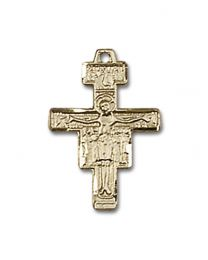 14kt Gold Filled San Damiano Crucifix Pendant with Gold Filled Lite Curb Chain