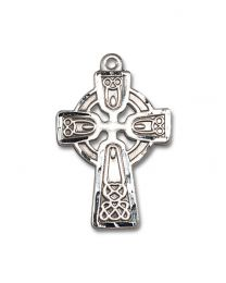 Sterling Silver Celtic Cross Pendant with Light Rhodium Heavy Curb Chain