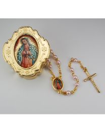 Guadalupe Box and Pink Rosary