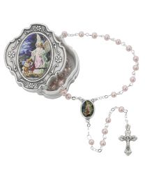 Guardian Angel Box and Pink Rosary