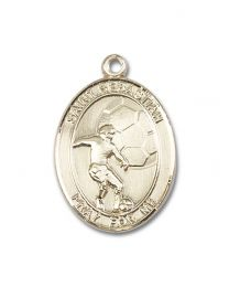 14kt Gold Filled St. Sebastian / Soccer Pendant with Gold Plate Heavy Curb Chain