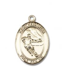 14kt Gold Filled St. Sebastian / Hockey Pendant with Gold Plate Heavy Curb Chain