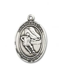 Sterling Silver St. Sebastian / Hockey Pendant with Light Rhodium Heavy Curb Chain