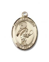 14kt Gold Filled St. Sebastian / Tennis Pendant with Gold Plate Heavy Curb Chain