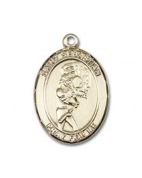14kt Gold Filled St. Sebastian / Softball Pendant with Gold Plate Heavy Curb Chain