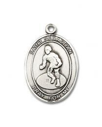 Sterling Silver St. Sebastian / Wrestling Pendant with Light Rhodium Heavy Curb Chain