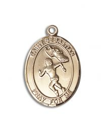 14kt Gold Filled St. Sebastian / Track & Field Pendant with Gold Plate Heavy Curb Chain