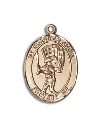 14kt Gold Filled Guardian Angel/Baseball Pendant with Gold Plate Heavy Curb Chain