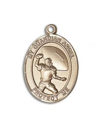 14kt Gold Guardian Angel/Football Medal