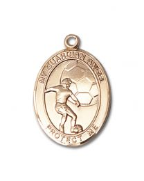 14kt Gold Filled Guardian Angel/Soccer Pendant with Gold Plate Heavy Curb Chain