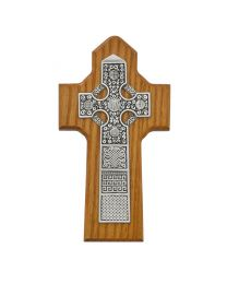 8in Walnut Stained Celtic Cross Boxed