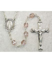 Light Lavender Glass June Rosary Boxed