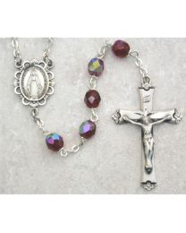 Dark Red Glass January Rosary Boxed