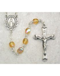 Amber Glass November Rosary Boxed