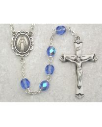 Light Blue Glass December Rosary Boxed
