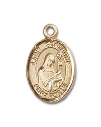 14kt Gold Filled St. Gertrude of Nivelles Pendant with Gold Filled Lite Curb Chain