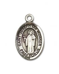 Sterling Silver St. Joseph The Worker Pendant with Sterling Silver Lite Curb Chain