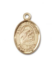 14kt Gold Filled St. Aloysius Gonzaga Pendant with Gold Filled Lite Curb Chain