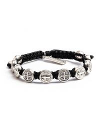 Benedictine Blessing Bracelet - Silver-Plated Medals on Black Cord