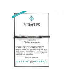 Miracles Words of Wisdom Bracelet - Silver-Tone on Black Cord