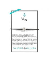 Say Yes Miraculous Mary Bracelet - Silver-Tone Medal on Black Cord
