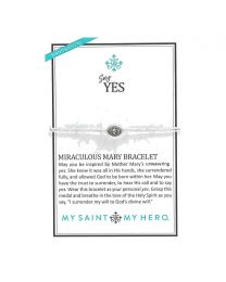 Say Yes Miraculous Mary Bracelet - Silver-Tone Medal on Silver-Metallic Cord