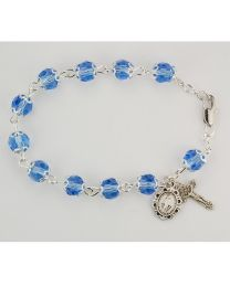 7.5in Capped Blue Crystal Bracelet Boxed