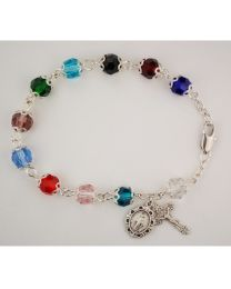 7.5in Capped Multi Crystal Bracelet Boxed