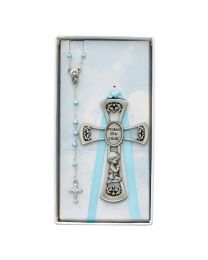 Baby Boy Crib Cross and Rosary Set Boxed