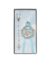 Angel Crib Medal and Blue Rosary Set Boxed