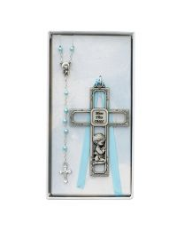 Crib Cross and Blue Rosary Set Boxed